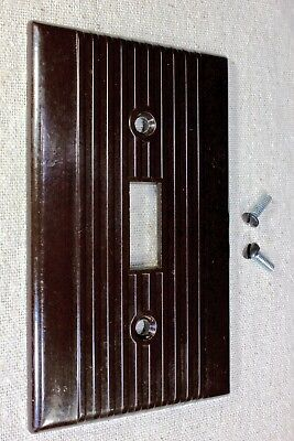 old single Switch Plate brown Bakelite vintage 1900's with screws lines LEVITON