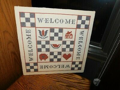 Welcome Cross Stitch Sampler Handmade COMPLETED Tulip Heart Pig Red White Blue