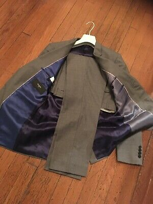 PAUL SMITH Mens Grey Suit Blazer + Pants 36R 30x30 (Never worn) - The Byard