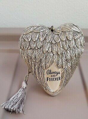 Art Hearts  ALWAYS And FOREVER FEATHERS & HEART SILVER GOLD Valentine's Day