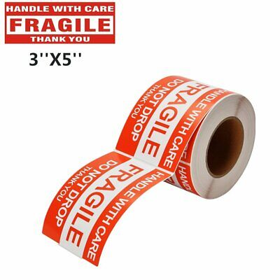 500/Roll 3x5 Fragile Stickers Handle With Care Thank You Shipping Label