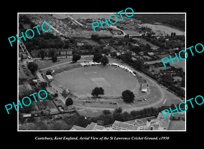 OLD POSTCARD SIZE PHOTO CANTERBURY KENT ENGLAND, VIEW OF CRICKET GROUND c1950
