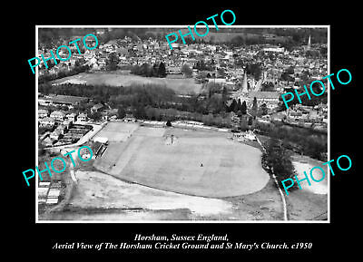 OLD POSTCARD SIZE PHOTO HORSHAM SUSSEX ENGLAND THE CRICKET GROUND c1950