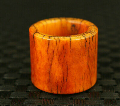 chinese old yak horn hand carved thumb ring statue unique collectable noble gift