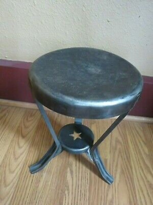 Antique Country Primitive Farm House Steel Star Line Milking Stool Awesome!