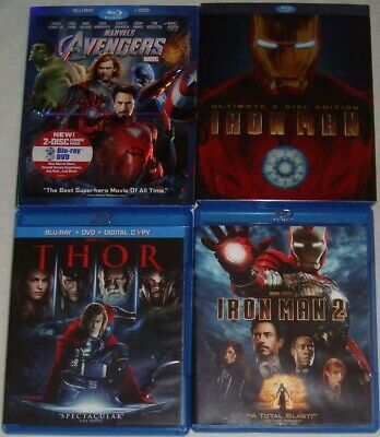 Disney/Marvel lot IRON MAN Ultimate 2-Disc Edition+2+THOR+THE AVENGERS slipcover