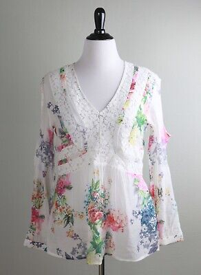 ANTHROPOLOGIE $78 Cyrena Lace Semi Sheer Floral Peasant Blouse Top Size Large
