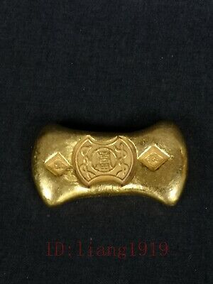 Collection Chinese Old Brass Not Gold Bar Ingot Wonderful Decoration Gift