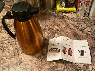 """IHOP Vintage Service Ideas Push Button Carafe Copper 8"""" Tall .5 Liter New Unised"""