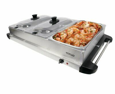 Electric Buffet Food Warmer Server 3 Tray Large Bain Marie Stainless Steel Heate