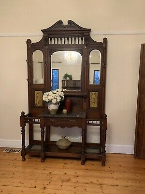 Old antique style timber mirror hallstand hall stand Umbrella coat rack hooks
