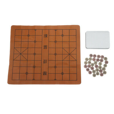 Retro Chinese Chess Xiangqi Board Game with Soft Chessboard & Box for Home/Party