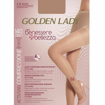 Collant Donna A Compressione Graduata Golden Lady 140 Denari Nero Tg.3