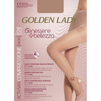 Collant Donna A Compressione Graduata Golden Lady 70 Denari Nero Tg.3