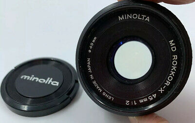 Minolta MD ROKKOR-X 45mm f2 Made In Japan Vintage With Cover