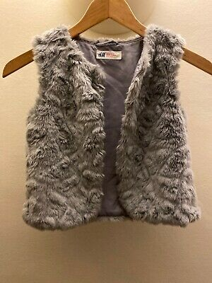 Girls H&M Grey Fur Gillet Body Warmer Age 6-7-8 Yrs