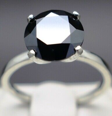 2.83cts 9.49mm Real Natural Black Diamond Engagement Size 7 Ring & $1615 Value