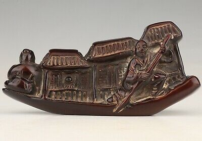 Precious China Yak Horn Statue Old Hand-Carved Boat Mascot Decoration Gift