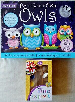ACTIVITY STATION PAINT YOUR OWN OWLS SET + WIBBLY WOBBLY FLOWER Crafts Gift Kids