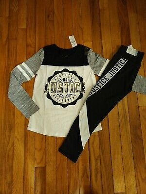 NWT Justice Girls Outfit FootballTop/Logo Tape Leggings Size 7 8 10