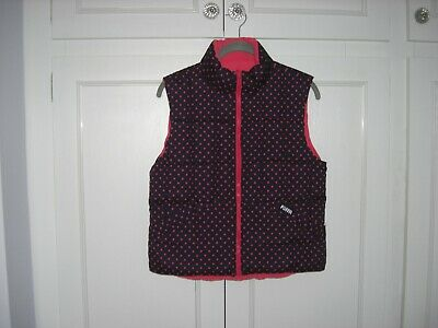 GIRLS PUFFA REVERSIBLE PADDED GILET JACKET WAISTCOAT NAVY/PINK JXXL 10/11yrs VGC