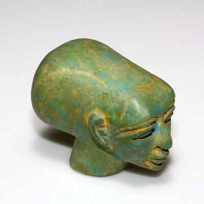 Intact Egyptian Egypt Sculpture Stone Alien Head Ornament Statue Circa 1200-1500