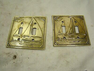 Two Vintage Sailboat Brass Light Double Switch Plate Covers