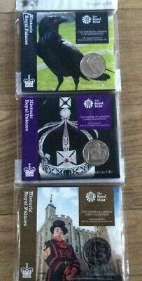 3 X 2019 The Tower Of London £5 Five Pound Coin Series Bu In Royal Mint Pack