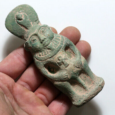 Circa 500-300 Bc Egyptian Faience Bess Ornament Statue