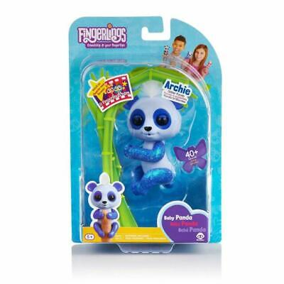 Fingerlings Glitter Panda - Archie (Blue) - Interactive Collectible Baby Pet