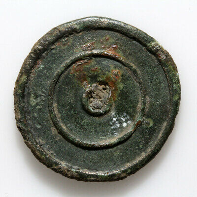 Intact Roman Bronze Round Applique Ornament Circa 200-400 Ad