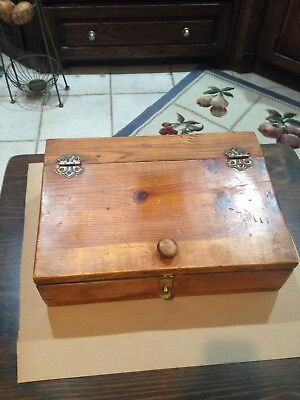 antique vintage wood hinged letter box writers box sloped lap desk / sturdy