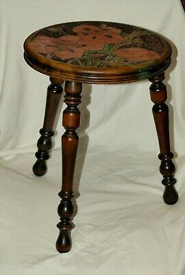 Antique Stool Or Stand  , Carved And Painted With A Design Of Poppies