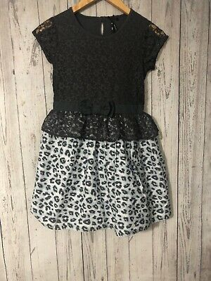 Girls Next Grey Lace Short Sleeve Top And Leopard Print Dress Age 10 Years