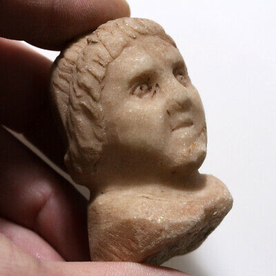Intact Ancient Roman Stone Male Bust Ornament Circa 100-400 Ad