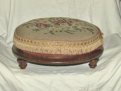 Antique Circular Mahogany Footstool (2)
