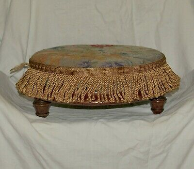Antique Circular Mahogany Footstool (1)