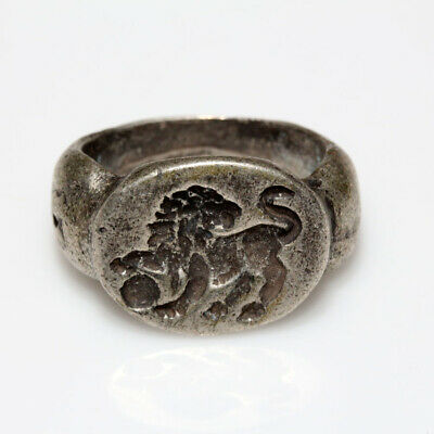 Ancient Greek Massive Silver Seal Ring Circa 300-100 Bc