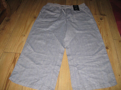 Crop Trousers Size 10 Blue Mix Marks & Spencer New & Tag 52% Linen 48% Cotton