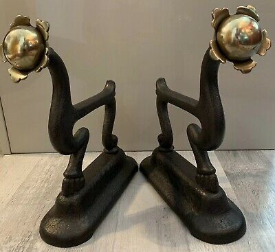 Pair Rare Unusual Antique Cast Iron & Brass Anamorphic Claw Foot Fire Dogs 1896