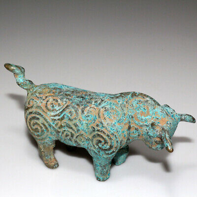 Ancient Central Asian Circa 300-600 Ad Bronze Bull Statue