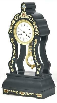 Antique Portico Mantle Clock Exceptional French Ebonised With Brass Inlays