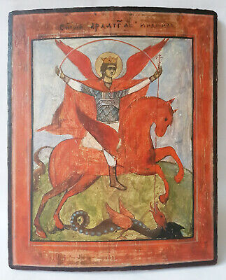 Antique 19th C Russian Hand Painted Icon of the St. Michael the Archangel