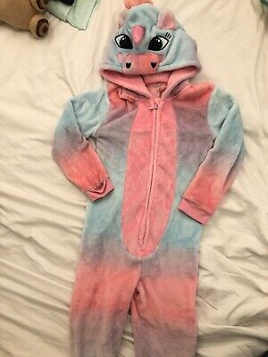 Girls Hooded Fluffy Unicorn Pyjamas  All In One 6-7 Years Fab Cons
