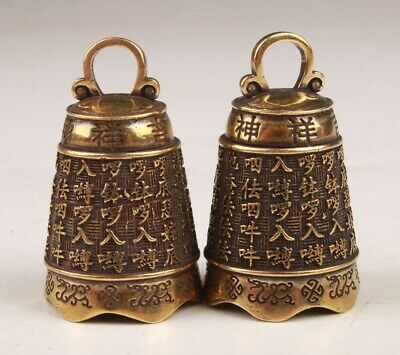 2 Sacred Bronze Pendant Statue Bell Exorcist Mascot Colle Gift Old