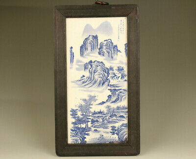 Rare Fine Chinese old porcelain hand painting landscape wall home decoration