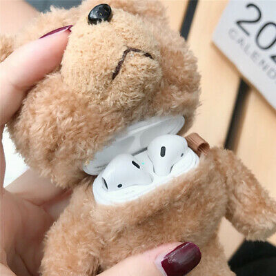 For Apple AirPods 1/2 Cute Teddy bear Plush Earphone Case protective Cover