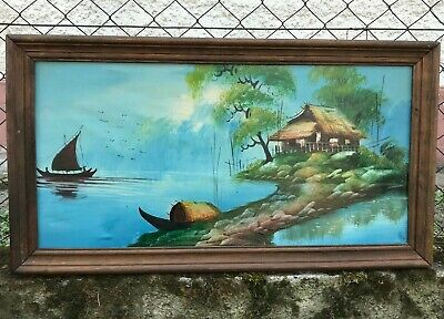 Chinese Asian Landscape Hand Oil Painting China Antique, Vintage, Old Hanging