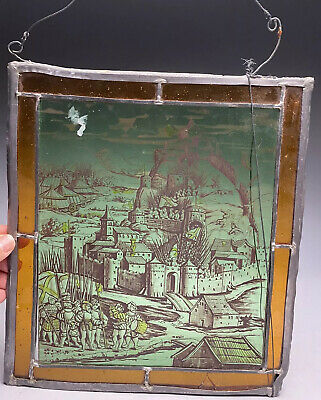 Antique Painted Stained Glass Window Panel Of Castle Siege