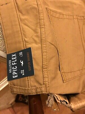 Hollister W32 L30 Super Skinny - Epic Flex Brown Men's BRAND NEW WITH TAGS